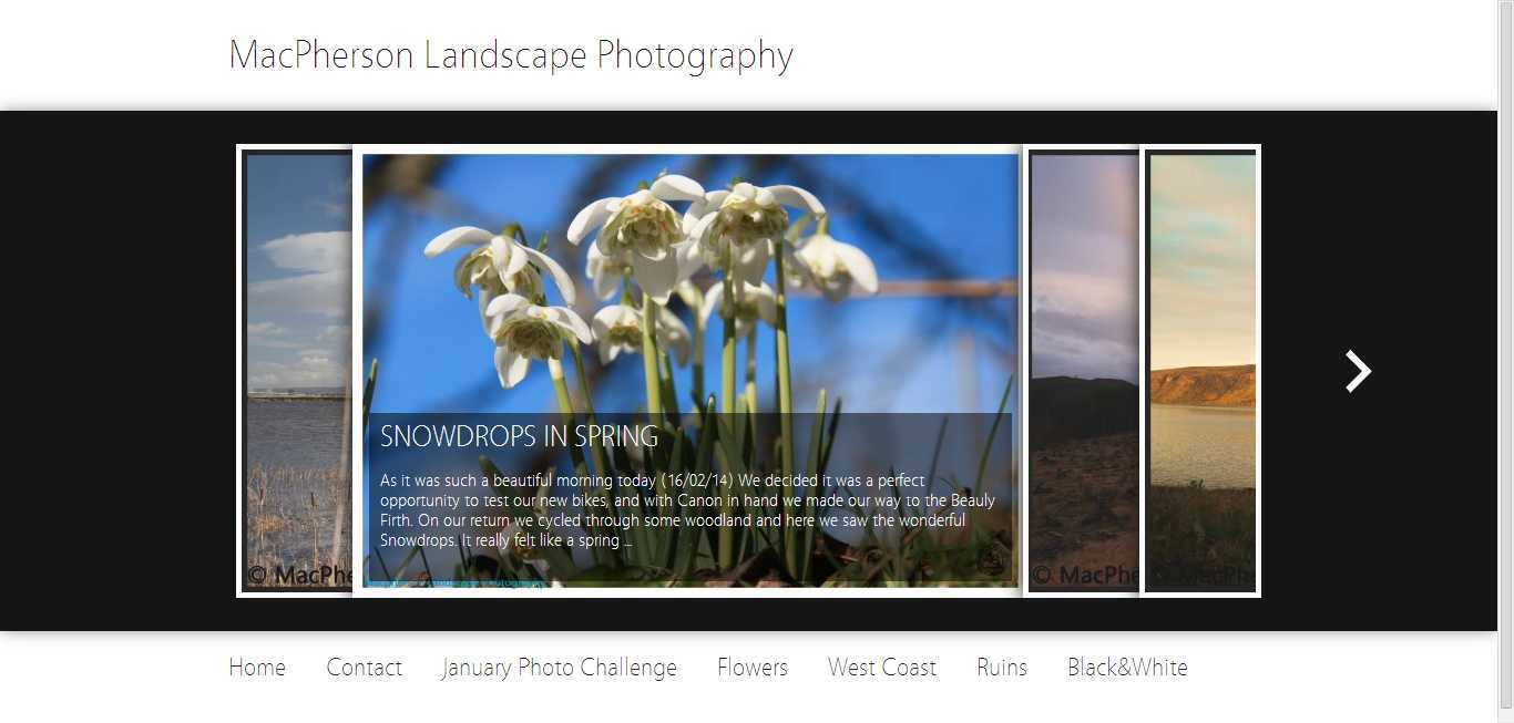 MacPherson Landscape Photography Home Page