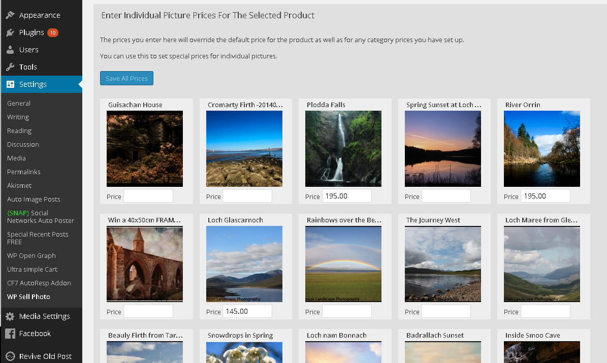WordPress Sell Photo Set Individual Picture Prices