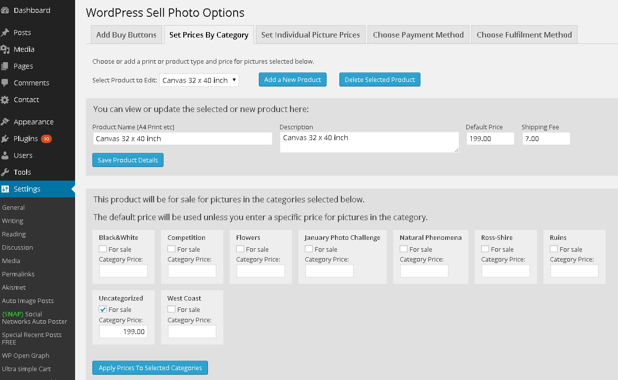 WordPress Sell Photo - Set Prices By Category
